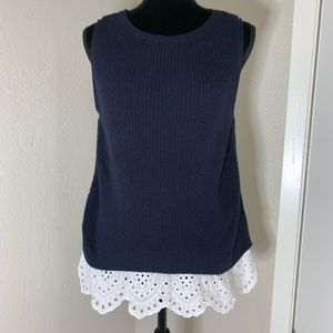 LOFT Knit sleeveless sweater ruffle eyelet trim